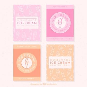 Cartões decorativos com sorvetes em cores pastel