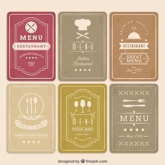 Cartões do menu retro