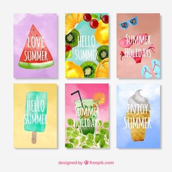 Cartões do verão da aguarela do bloco