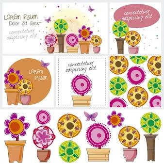 Cartões e banners com flores coloridas