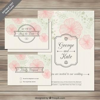 Cartões florais convites do casamento no estilo esboçado