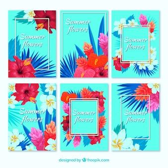 Cartões floridos de verão de aquarela