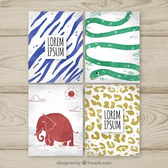 Cartões modernos de aquarela com animais