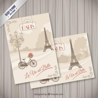 Cartões postais Paris no estilo retro