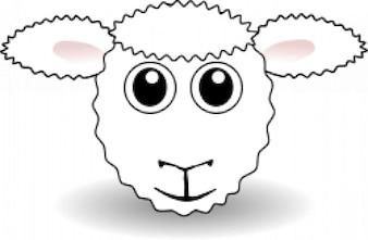 Cartoon cara engraçada ovelha branca