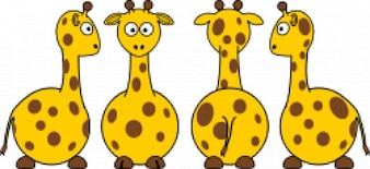 cartoon girafa (frente para trás, e vista lateral)