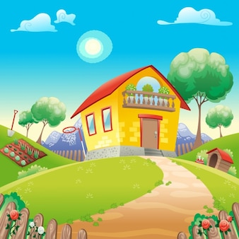 Casa com jardim int o cartoon do vetor campo