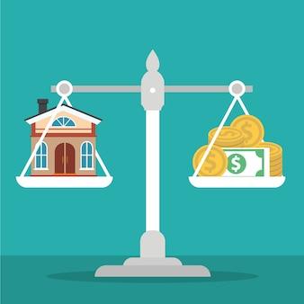 Casa e dinheiro na máquina de pesagem