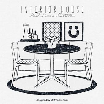 Casa interior em estilo hand-drawn