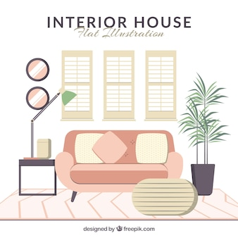 Casa interior plano com sofá-de-rosa