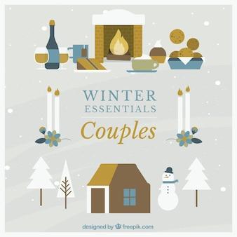 Casais de inverno Jogo do ícone