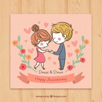 Casal esboçado no amor cartão de aniversário feliz