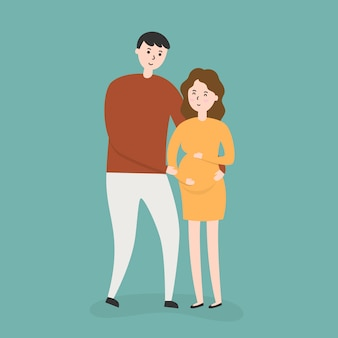 Casal feliz com mulher grávida