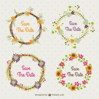 Casamento coroas de flores definido no estilo do vintage