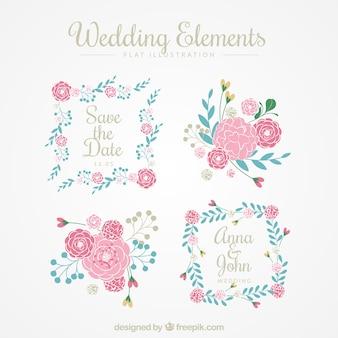 Casamento, floral, elementos, pacote