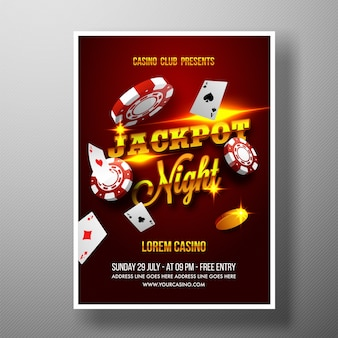 Casino Jackpot Night Flyer, modelo ou banner.