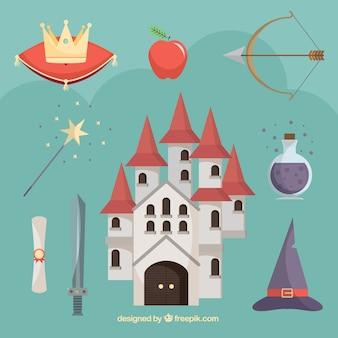 Castelo plano com elementos contos de fadas
