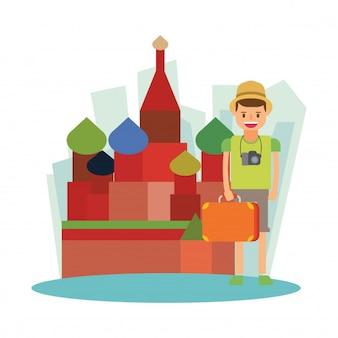 Catedral santo basil rússia férias personagem de desenho animado