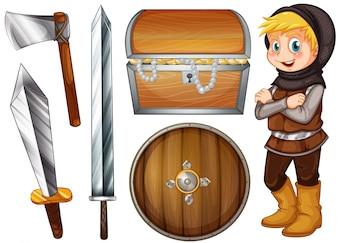 Cavaleiro com armas e ilustração do tesouro