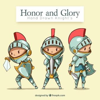 Cavaleiro desenhado a mão com armadura