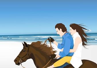 cavaleiros na praia