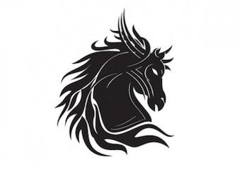 Cavalo silhueta modelo tatoo tribal cabeça