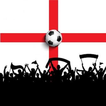 Celebração do futebol em uma bandeira de Inglaterra
