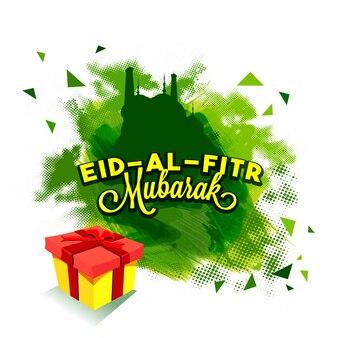 Celebração islâmica do festival Eid-Al-Fitr celebração conceito com caixa de presente e mesquita.