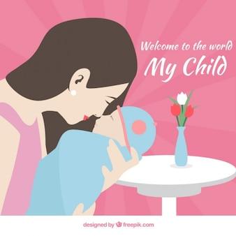 Cena bonita do mum com seu cartão do bebê