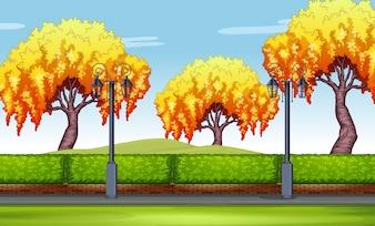 Cena com árvores de salgueiro no parque ilustração