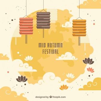 Cena com elementos do festival de meados de outono