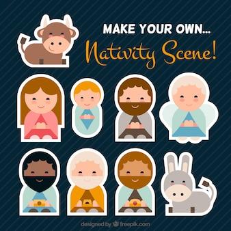 Cena ícones lisos do Natividade