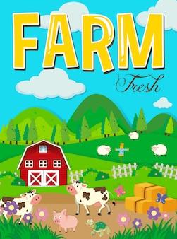 Cena da fazenda com animais e celeiro