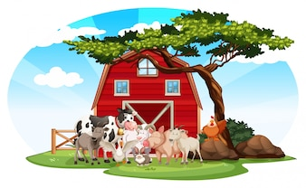 Cena da fazenda com animais