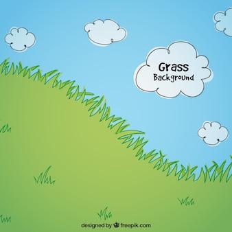 Cena da natureza com grama e nuvens desenhada à mão