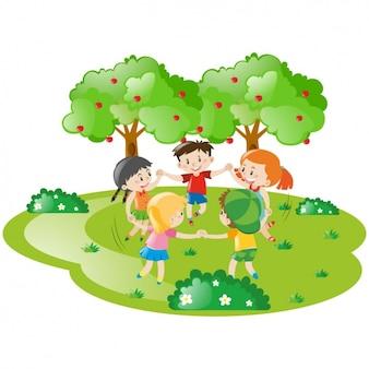 Cena de crianças na natureza
