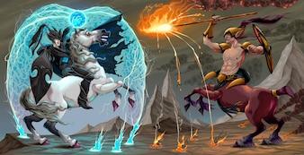 Cena de luta entre elfos escuros e centauro Ilustração vetorial fantasia