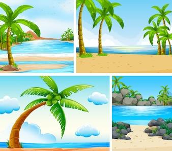 Cena do oceano com coqueiros na ilustração da praia