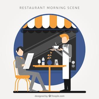 cena do restaurante de manhã