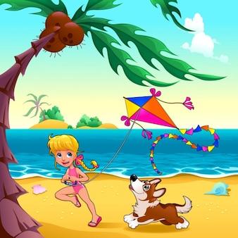 Cena engraçada com menina e cão na praia Vector ilustração dos desenhos animados