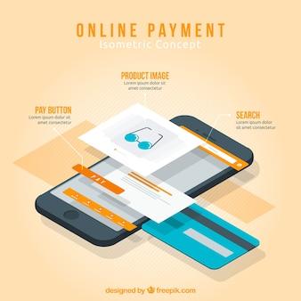 Cena isométrica sobre o pagamento on-line