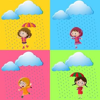 Cenas com meninas na chuva