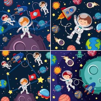 Cenas espaciais com astronautas e planetas
