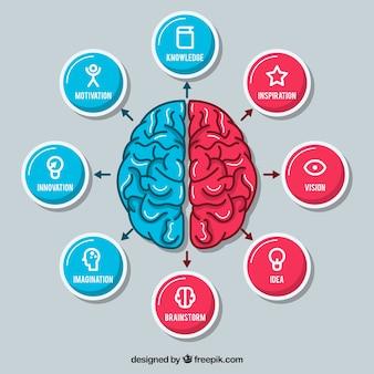 Cérebro desenhado mão com ícones