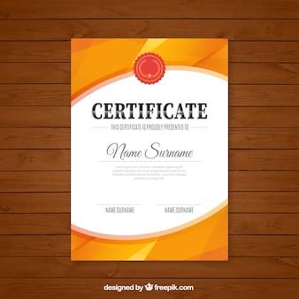 certificado abstrato na cor laranja