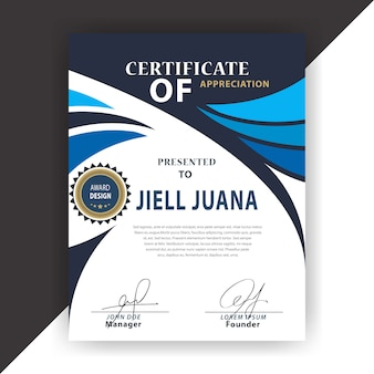 Certificado branco e azul