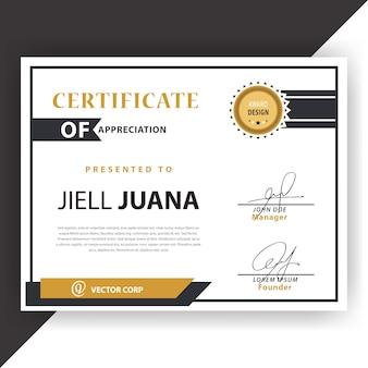 Certificado branco e dourado
