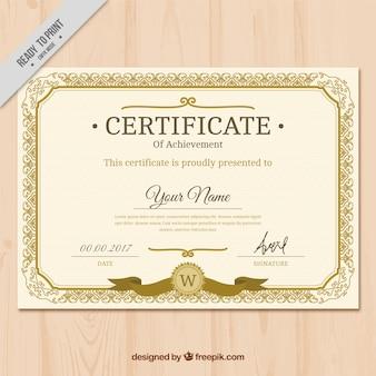 Certificado clássico dourado do vintage