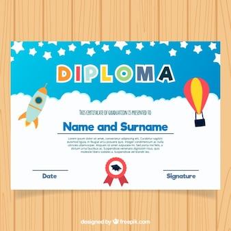 Certificado colorido da graduação para crianças no design plano