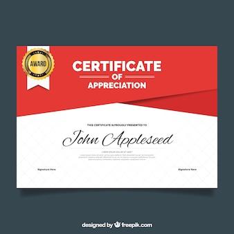 Certificado de apreciação com formas vermelhas